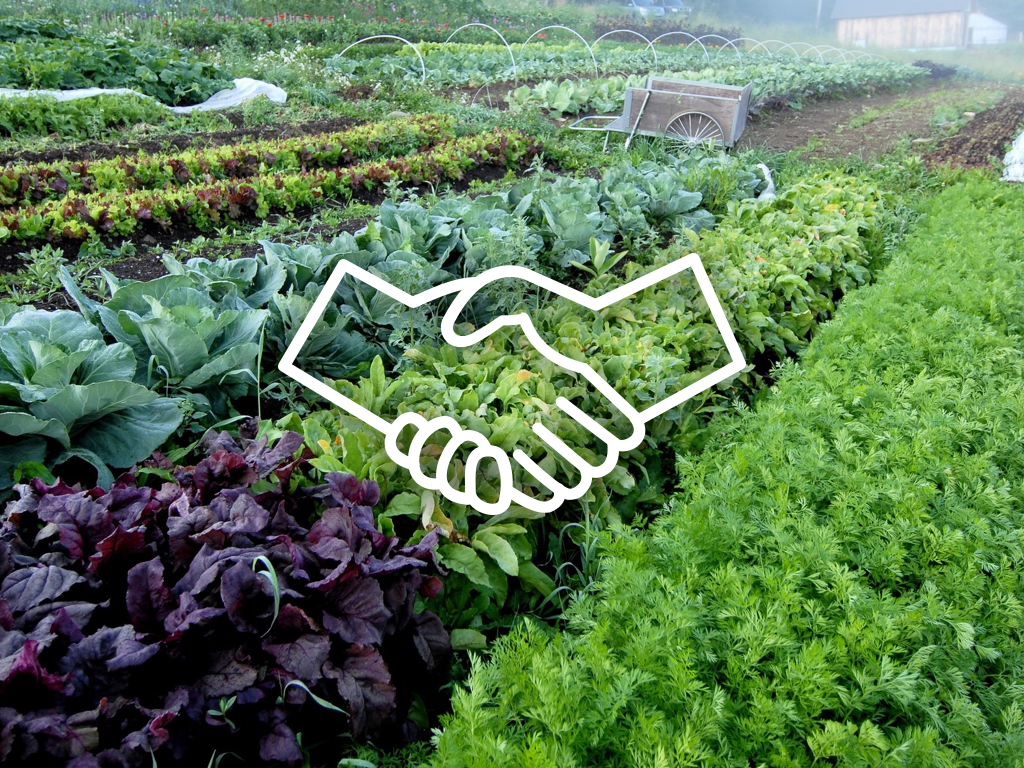 Handshake icon over garden image